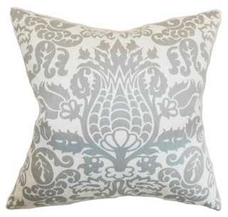 Dolbeau 18x18 Cotton Pillow, Gray - One Kings Lane