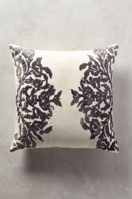 "Vining Velvet Pillow - Dark Grey - 20"" x 20"" - Polyfill - Anthropologie"