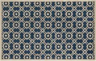 Delphine Rug, Navy/Parchment - 5'x8' - One Kings Lane