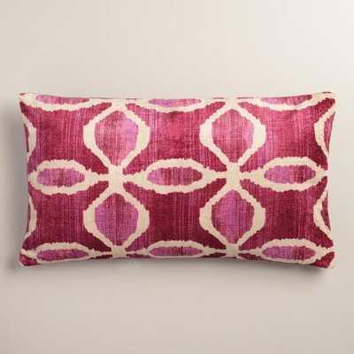 "Oversized Pink Ikat Velvet Taza Lumbar Pillow- 14""W x 24""L- Polyester fill insert - World Market/Cost Plus"