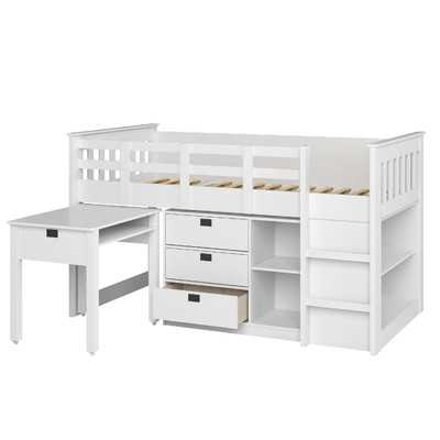 Madison Single Twin Loft Bed with Desk & Storage - Wayfair