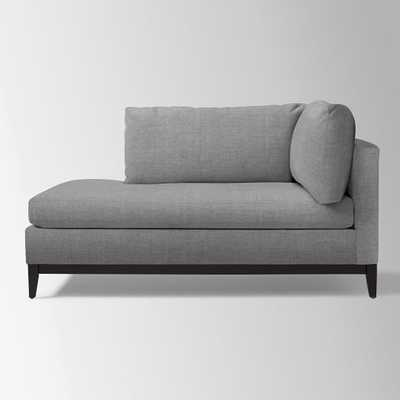 Blake Down-Filled Chaise - Left Arm - Gray Haze, Brushed Heathered Cotton - West Elm