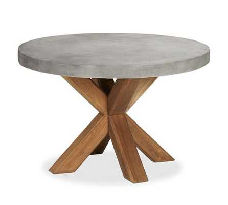 Abbott Concrete Top Round Fixed Dining Table - Pottery Barn