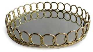 "15"" Round Looped Mirrored Tray - One Kings Lane"