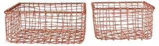 S/2 Square Iron Baskets - One Kings Lane