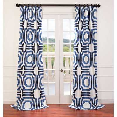 "Mecca Printed Cotton Curtain Panel - Blue, 84"" L - Overstock"