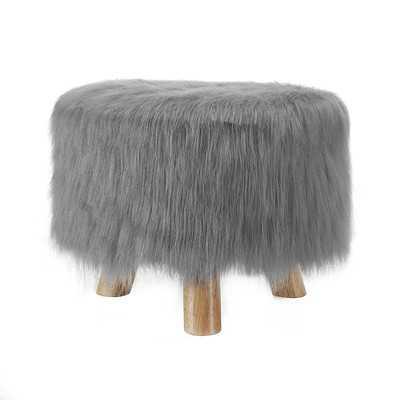 Sahraoul Faux Fur Ottoman - Frost Gray - Wayfair