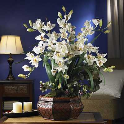 Large Cymbidium Silk Flower Arrangement - White - Overstock
