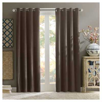 Annabelle 100% Cotton Velvet Curtain Pan/taupe brown - Target