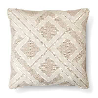 "Tan Geo Patchwork Toss Pillow – Threshold™- 20.000 "" L x 20.000"" W- Polyester fill insert - Target"