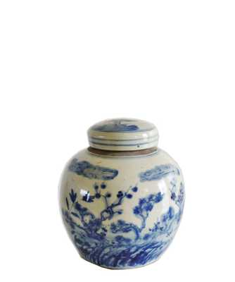 "Blue & White Floral Ginger Jar, 6.5"" Small - High Street Market"
