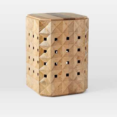 Carved Geo Wood Side Table, Natural Mango - West Elm
