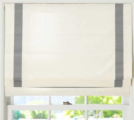 "Grosgrain Ribbon Cordless Roman Shade - Gray - 44""x64"" - Pottery Barn"
