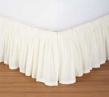 Voile Bed Skirt - Queen - Ivory - Pottery Barn