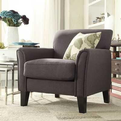 INSPIRE Q Uptown Modern Dark Grey Linen Accent Arm Chair - Overstock