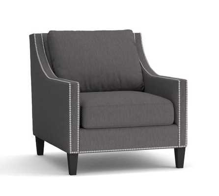 Pasadena Upholstered Armchair - Denim, Charcoal - Pottery Barn