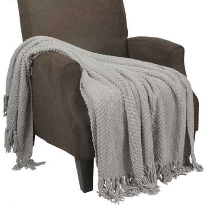 Tweed Knitted Throw Blanket - Silver - Wayfair