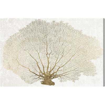 Gold Coral Fan Canvas Print, Oliver Gal - 20'' H x 30'' W x 1.5'' D - AllModern