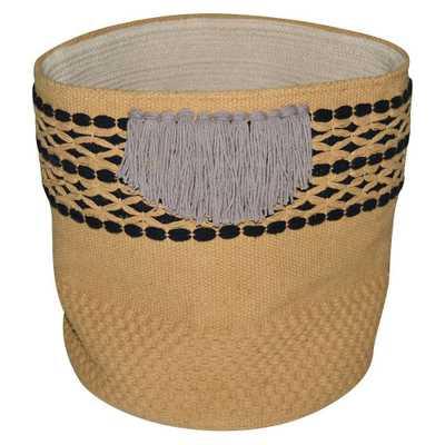 Nate Berkus Soft Woven Fringe Basket, Multi-Colored - Domino