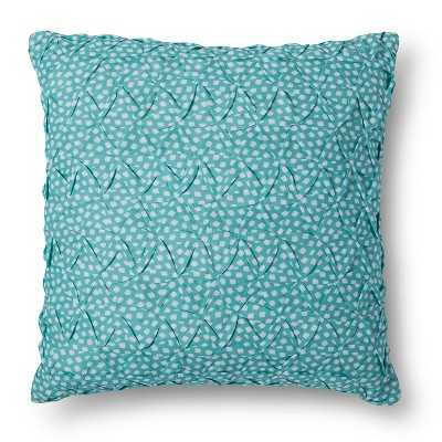 "Smocking on Turq & White Dot Print Decorative Pillow- 18"" Sq- Polyester fill insert - Target"