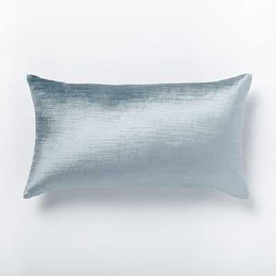 """Luster Velvet Pillow Cover - Dusty Blue (12"""" x 21"""") - no insert - West Elm"""
