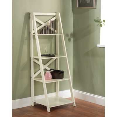 Simple Living Antique White 4-tiered X-Shelf Ladder Case - Overstock