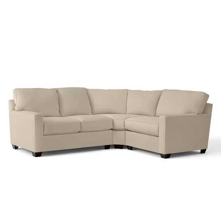 Buchanan Square Arm Upholstered Curved 3-Piece Sectional With Wedge- Left Arm - Pottery Barn