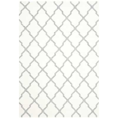 Dhurries Ivory/Gray Area Rug - 6' x 9' - Wayfair