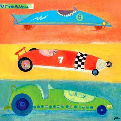 Vroom Vroom Race Cars Canvas Art - 21x21 - Unframed - Wayfair