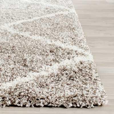 Safavieh Hudson Diamond Shag Grey Background and Ivory Rug (9' x 12') - Overstock