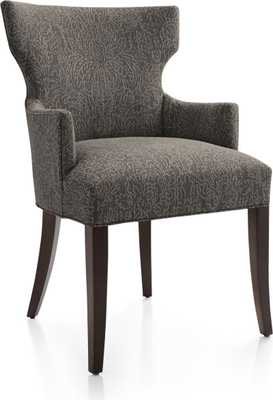 Sasha Upholstered Dining Arm Chair-Fog - Crate and Barrel