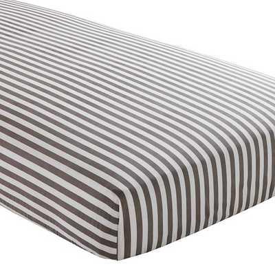 Grey Stripe Fitted Crib Sheet - Land of Nod