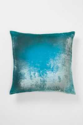 Ombre Velvet Pillow - 22 x 22 - Aqua - Down fill insert - Anthropologie