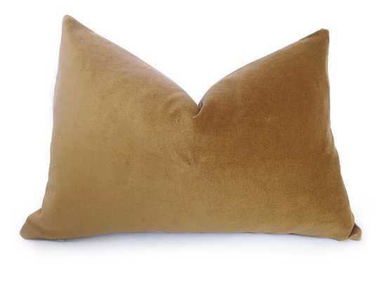 "Velvet Pillow Cover - Gold - 12""x20"" - Insert Sold Separately - Etsy"