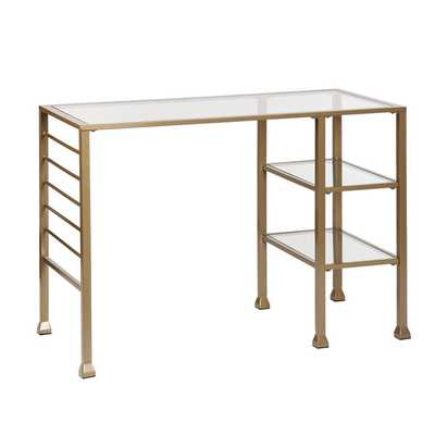 Upton Home Matte Gold Metal and Glass Writing Desk - Overstock