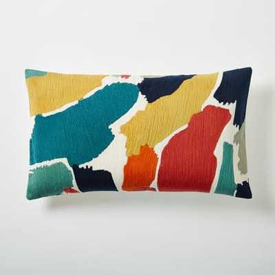 """Modern Brushstroke Crewel Lumbar Pillow Cover 12""""w x 21""""l., No insert - West Elm"""