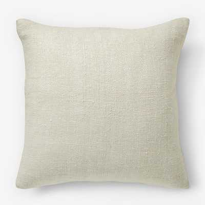 Solid Silk Hand-Loomed Pillow Cover - Stone White - West Elm