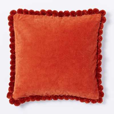 "Jay Street Pom Pom Pillow Cover - Cayenne - 18"" x 18"" - Insert sold separately - West Elm"