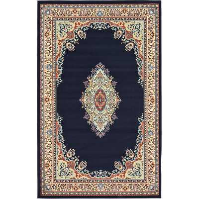 Mashad Navy Blue Area Rug - 5' x 8' - Wayfair