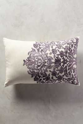 "Vining Velvet Pillow - 16"" x 24"" - Lilac - Polyfill - Anthropologie"