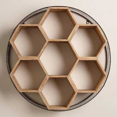 Round Metal and Wood Honeycomb Wall Storage - World Market/Cost Plus