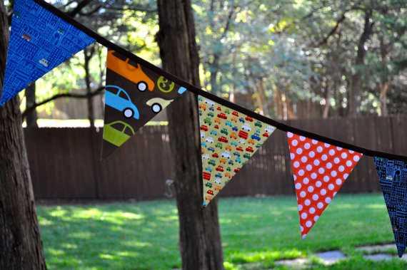 Boys car fabric pennant banner - Etsy