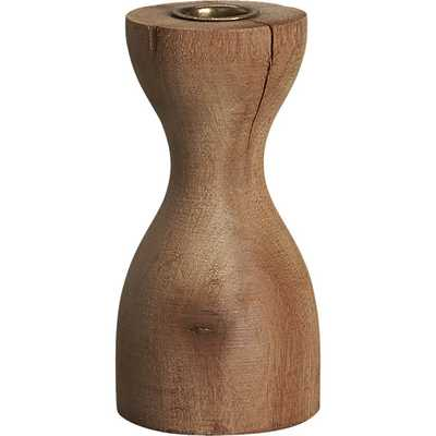 Saal turned wood short taper candle holder - CB2