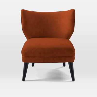Retro Wing Chair- LUSTER VELVET, CAYENNE - West Elm