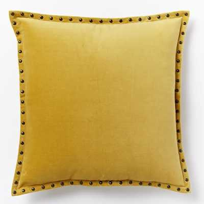 Studded Velvet Pillow Cover - Horseradish - 20x20 - Insert Sold Separately - West Elm