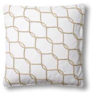 Fishnet 18x18 Cotton Pillow, White - with insert - One Kings Lane