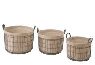 S/3 Tin Baskets w/ Fabric Liner - One Kings Lane