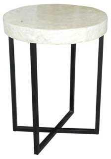 Gyasi Round Side Table, Oyster White - One Kings Lane