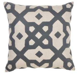 Ornate 22x22 Cotton Pillow - Gray - Feather/down insert - One Kings Lane