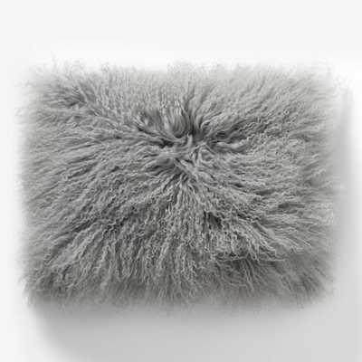 """Mongolian Lamb Pillow Cover - Platinum (12""""x16"""") - West Elm"""